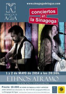 cartel concierto ETHNOS ATRAMO 1 Y 2 MAYO  en la sinagoga OPT