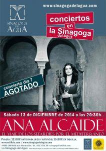 carte concierto ANA ALCAIDE 13 DICIEMBRE 2014  en la sinagoga OPT